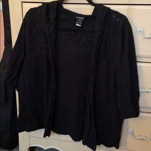 Torrid Black Hooded Cardigan